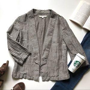 LOFT Black & Taupe Metallic Striped Linen Blazer